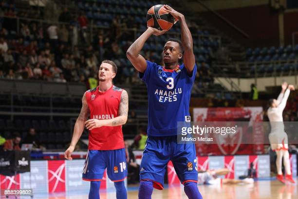 Errick McCollum #3 of Anadolu Efes Istanbul and Josh Adams #14 of Anadolu Efes Istanbul warm up during the 2017/2018 Turkish Airlines EuroLeague...