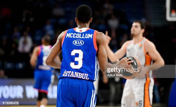 Errick McCollum #3 of Anadolu Efes Istanbul in action during the 2017/2018 Turkish Airlines EuroLeague Regular Season Round 21 game between Anadolu...