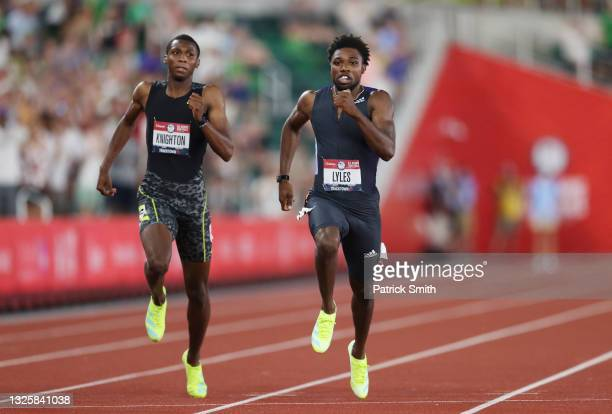 Erriyon Knighton and Noah Lyles compete in the Men's 200 Meter Final during day ten of the 2020 U.S. Olympic Track & Field Team Trials at Hayward...