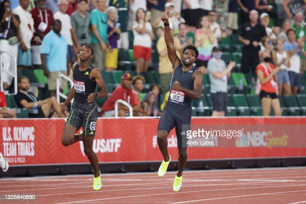 Erriyon Knighton and Noah Lyles react after competing in the Men's 200 Meter Final during day ten of the 2020 U.S. Olympic Track & Field Team Trials...