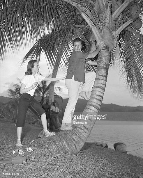 Errol Flynn and his fiancee Princess Irene Chica are shown on Navy Island a private little island owned by Flynn There are no homes on the island and...