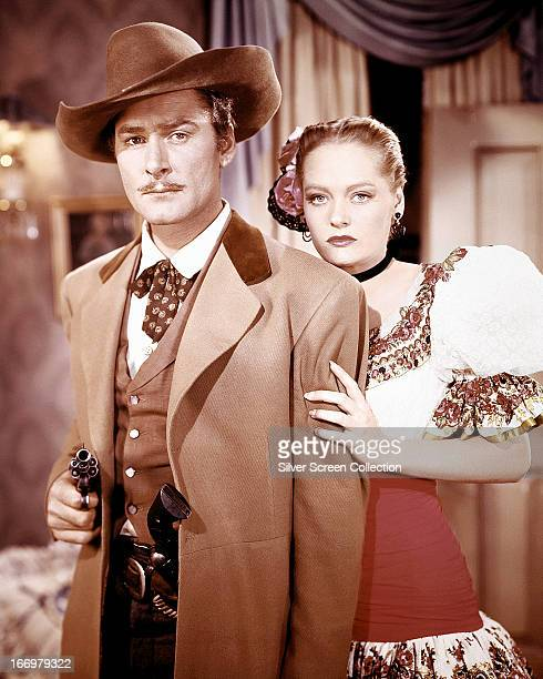 Errol Flynn as Clay Hardin and Alexis Smith as Jeanne Starr in 'San Antonio' directed by David Butler 1945