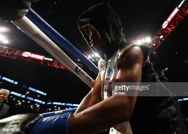 Errol Spence enters the ring against Lamont Peterson before their IBF Welterweight title fight at the Barclays Center on January 20 2018 in New York...