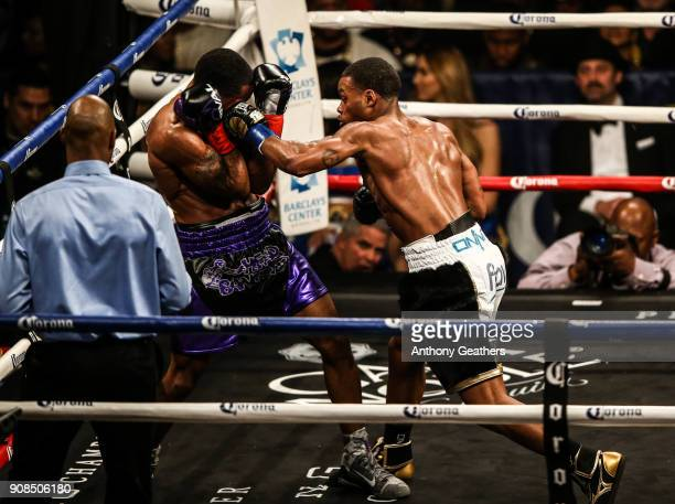 Errol Spence fights Lamont Peterson on January 20 2018 at the Barclays Center in Brooklyn neighborhood of New York City Spence won in the 8th round...