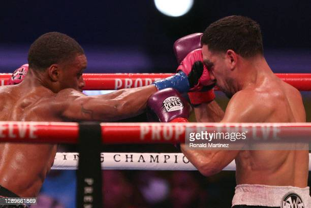 Errol Spence Jr. And Danny Garcia during their WBC & IBF World Welterweight Championship fight at AT&T Stadium on December 05, 2020 in Arlington,...