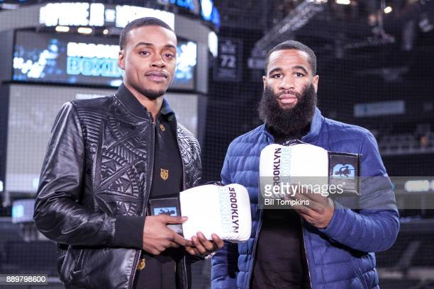 Errol Spence Jr and Lamont Peterson speak to the press and pose during the press conference announcing their upcoming Championship Welterweight fight...