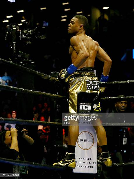 Errol Spence Jr celebrates his fifth round knock out of Chris Algieri during their welterwieght bout at Barclays Center on April 16 2016 in the...