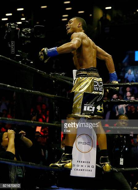 Errol Spence Jr celebrates his knock out in the fifth round against Chris Algieri during their welterwieght bout at Barclays Center on April 16 2016...