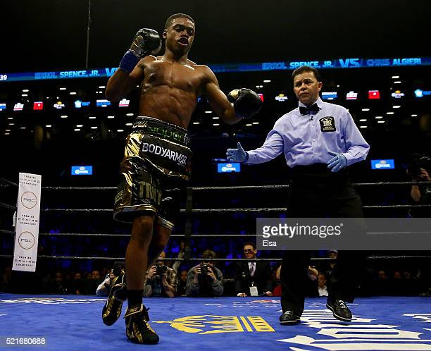 Errol Spence Jr celebrates in the fourth round after he knocked down Chris Algieri during their welterwieght bout at Barclays Center on April 16 2016...