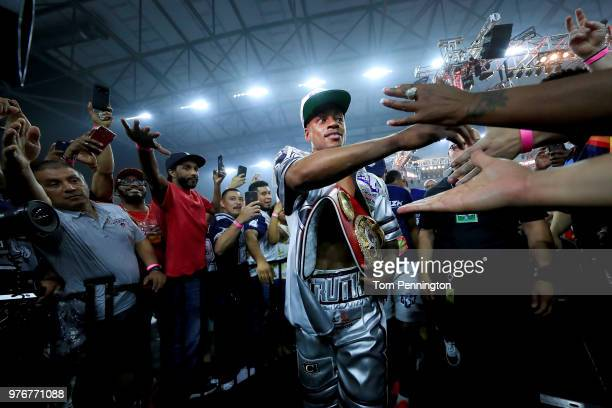 Errol Spence Jr celebrates with fans after knocking out Carlos Ocampo in the first round of a IBF Welterweight Championship bout at The Ford Center...