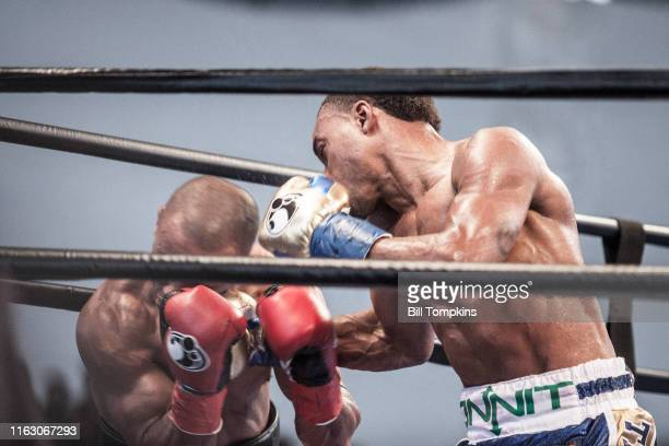 Errol Spence Jr defeats Leonard Bundu by KO in the 6th round during their Welterweight fight on August 21, 2016 in Brooklyn.