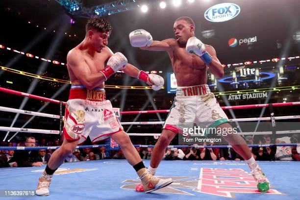 Errol Spence Jr fights Mikey Garcia in an IBF World Welterweight Championship bout at AT&T Stadium on March 16, 2019 in Arlington, Texas.