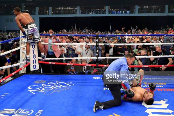 Errol Spence Jr knocks out Carlos Ocampo in the first round of a IBF Welterweight Championship bout at The Ford Center at The Star on June 16 2018 in...