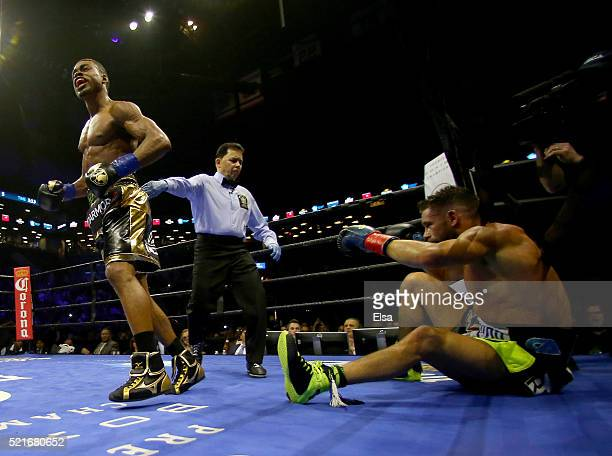 Errol Spence Jr knocks out Chris Algieri in the fifth round during their welterwieght bout at Barclays Center on April 16 2016 in the Brooklyn...