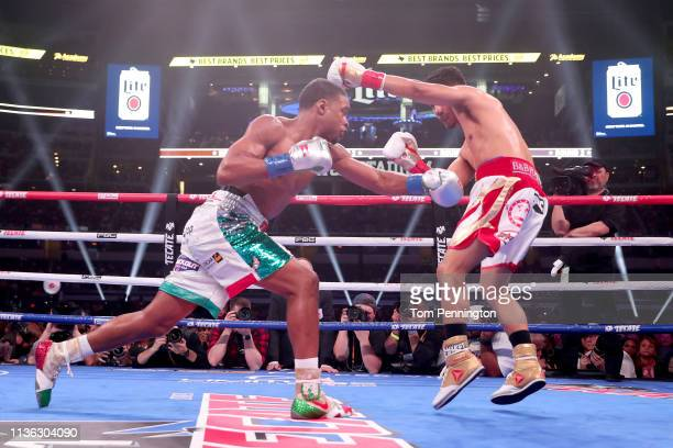 Errol Spence Jr lands a blow against Mikey Garcia in an IBF World Welterweight Championship bout at AT&T Stadium on March 16, 2019 in Arlington,...