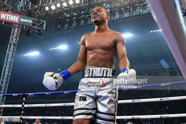 Errol Spence Jr reacts after knocking out Carlos Ocampo in the first round of a IBF Welterweight Championship bout at The Ford Center at The Star on...