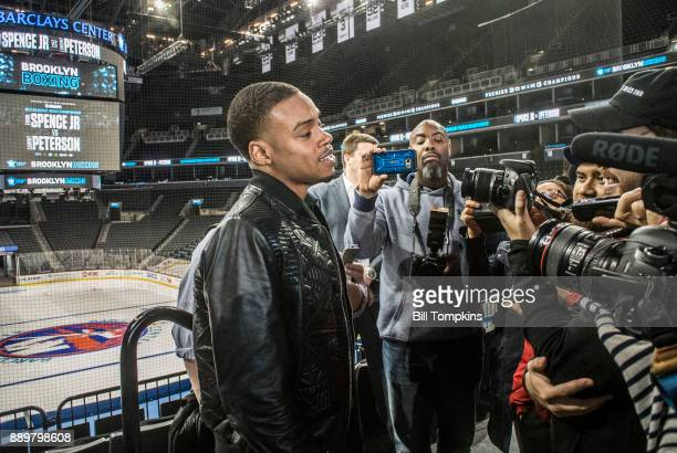 Errol Spence Jr speaks to the press during the press conference announcing his upcoming Championship Welterweight fight with Lamont Peterson in...