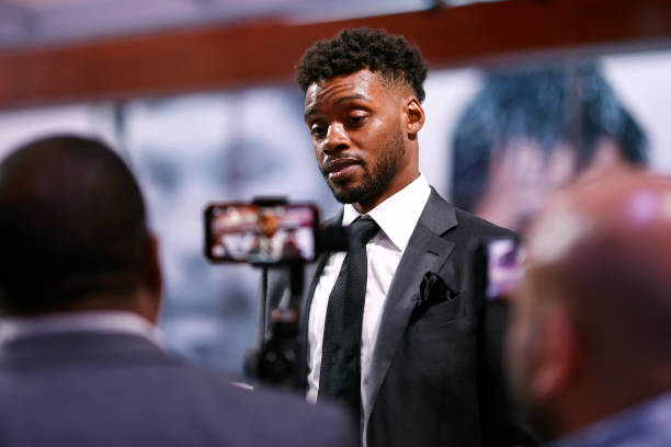 Errol Spence Jr speaks with the media following his press conference with Manny Pacquiao at Fox Studios on July 11, 2021 in Los Angeles, California....
