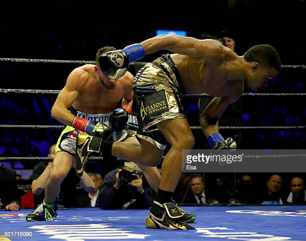 Errol Spence Jr stumbles during his fight against Chris Algieri during their welterwieght bout at Barclays Center on April 16 2016 in the Brooklyn...