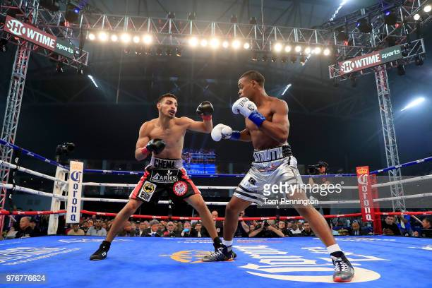 Errol Spence Jr takes on Carlos Ocampo in the first round of a IBF Welterweight Championship bout at The Ford Center at The Star on June 16 2018 in...