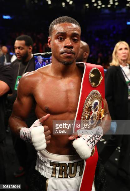 Errol Spence poses after his TKO in the eigth round against Lamont Peterson retaining his IBF Welterweight title at the Barclays Center on January 20...