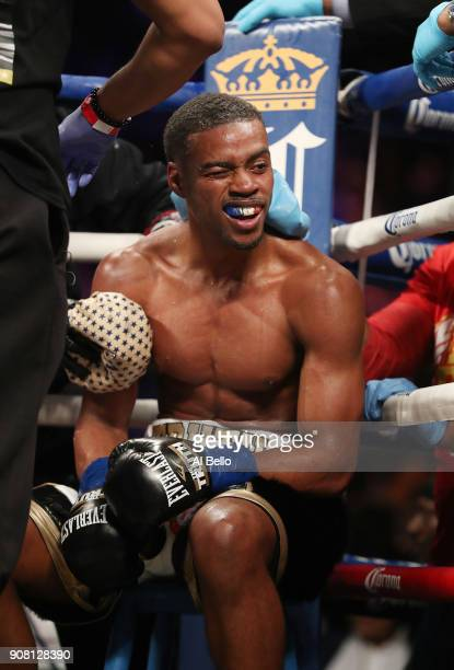 Errol Spence sits in his corner between rounds against Lamont Peterson during their IBF Welterweight title fight at the Barclays Center on January 20...