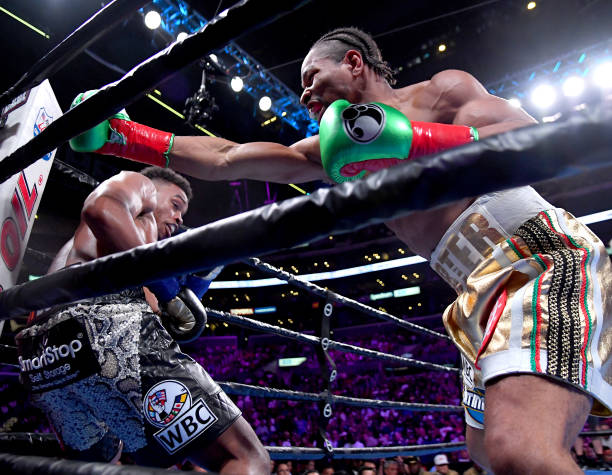 Erroll Spence Jr and Shawn Porter exchange punches during their IBF & WBC World Welterweight Championship fight at Staples Center on September 28,...