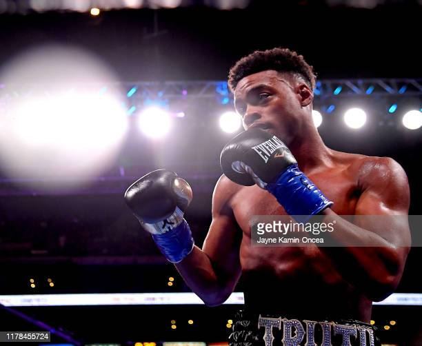 Erroll Spence Jr. In the ring fights against Shawn Porter in their IBF & WBC World Welterweight Championship fight at Staples Center on September 28,...