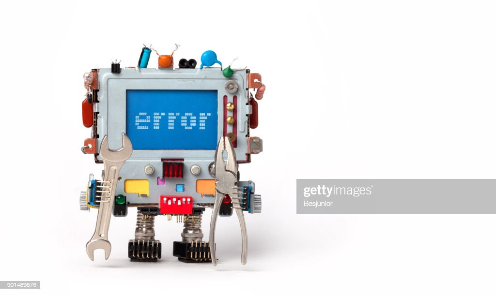 Error concept poster. Handyman robotic computer with hand wrench pliers on white background. Text message Error on blue screen. Copy space : Stock Photo