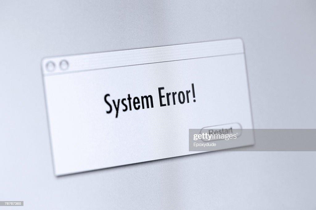 Error message on a computer screen : Stock Photo