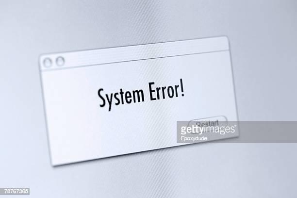 error message on a computer screen - foutmelding stockfoto's en -beelden