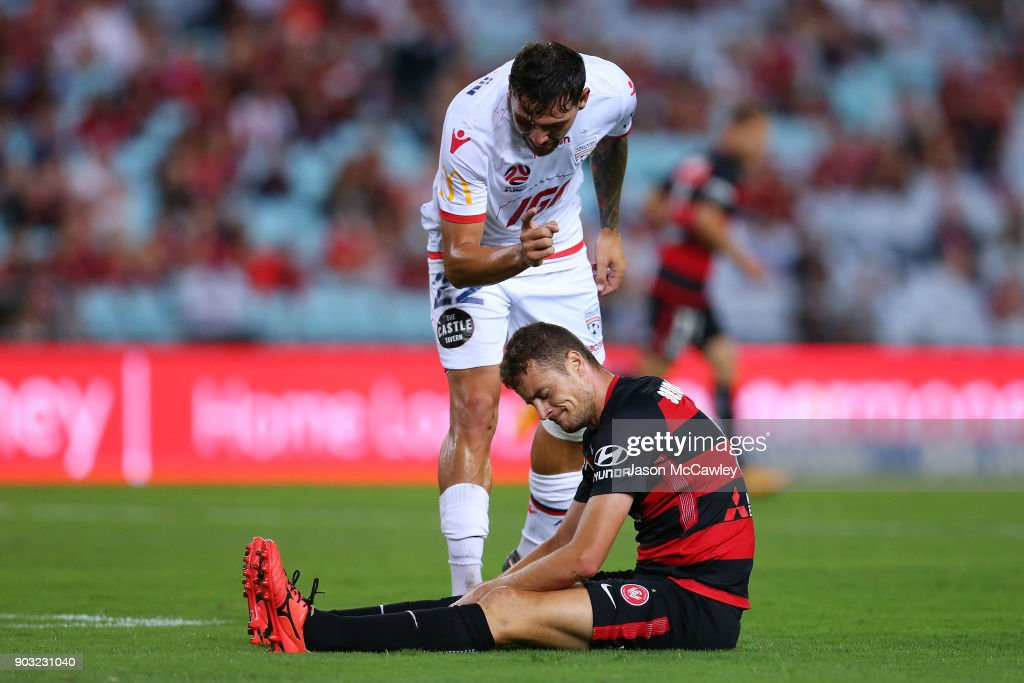 Ersan Gulum of Adelaide gestures to Oriol Riera of the Wanderers during the round 15 A-League match between the Western Sydney Wanderers and Adelaide United at ANZ Stadium on January 10, 2018 in Sydney, Australia.
