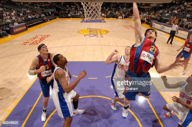 Ersan Ilyasova of Regal FC Barcelona goes up for a shot against the Los Angeles Clippers at Staples Center on October 19 2008 in Los Angeles...