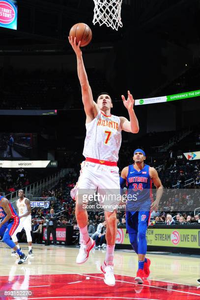 Ersan Ilyasova of the Atlanta Hawks goes to the basket against the Detroit Pistons on December 14 2017 at Philips Arena in Atlanta Georgia NOTE TO...