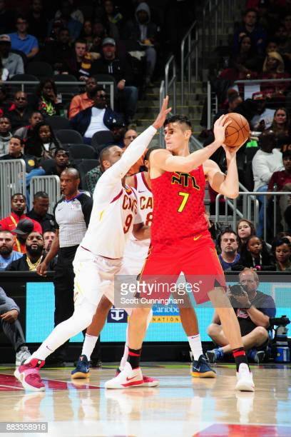 Ersan Ilyasova of the Atlanta Hawks handles the ball against the Cleveland Cavaliers on November 30 2017 at Philips Arena in Atlanta Georgia NOTE TO...