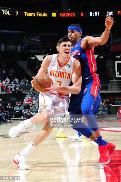 Ersan Ilyasova of the Atlanta Hawks handles the ball against the Detroit Pistons on December 14 2017 at Philips Arena in Atlanta Georgia NOTE TO USER...