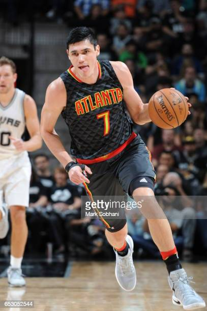 Ersan Ilyasova of the Atlanta Hawks handles the ball against the San Antonio Spurs on March 13 2017 at the ATT Center in San Antonio Texas NOTE TO...