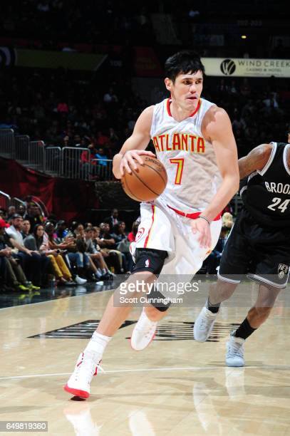 Ersan Ilyasova of the Atlanta Hawks handles the ball during a game against the Brooklyn Nets on March 8 2017 at Philips Arena in Atlanta Georgia NOTE...