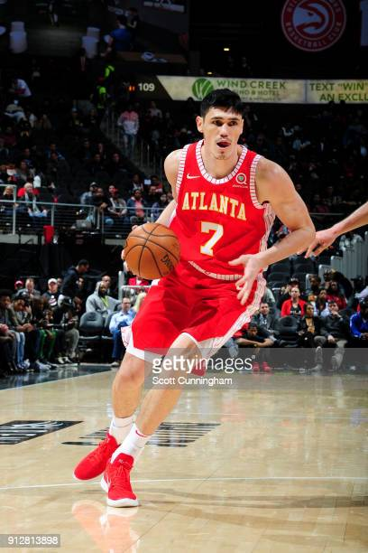 Ersan Ilyasova of the Atlanta Hawks handles the ball during the game against the Charlotte Hornets on January 31 2018 at Philips Arena in Atlanta...