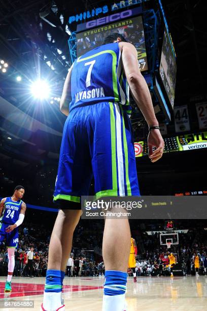 Ersan Ilyasova of the Atlanta Hawks inbounds the ball during the game against the Cleveland Cavaliers on March 3 2017 at Philips Arena in Atlanta...