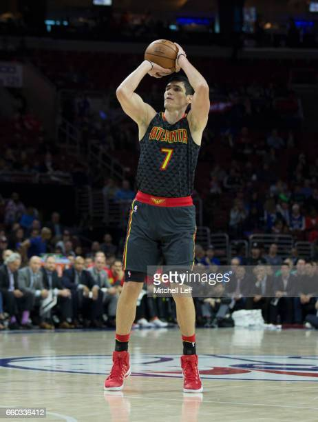 Ersan Ilyasova of the Atlanta Hawks shoots the ball against the Philadelphia 76ers in the first quarter at the Wells Fargo Center on March 29 2017 in...