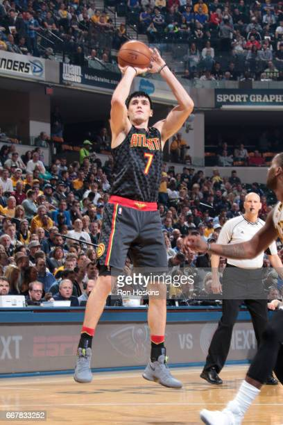 Ersan Ilyasova of the Atlanta Hawks shoots the ball against the Indiana Pacers on April 12 2017 at Bankers Life Fieldhouse in Indianapolis Indiana...