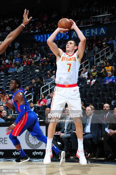 Ersan Ilyasova of the Atlanta Hawks shoots the ball against the Detroit Pistons on December 14 2017 at Philips Arena in Atlanta Georgia NOTE TO USER...