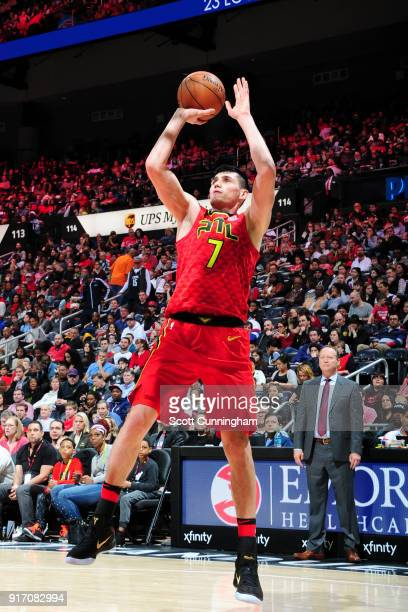 Ersan Ilyasova of the Atlanta Hawks shoots the ball against the Detroit Pistons on February 11 2018 at Philips Arena in Atlanta Georgia NOTE TO USER...