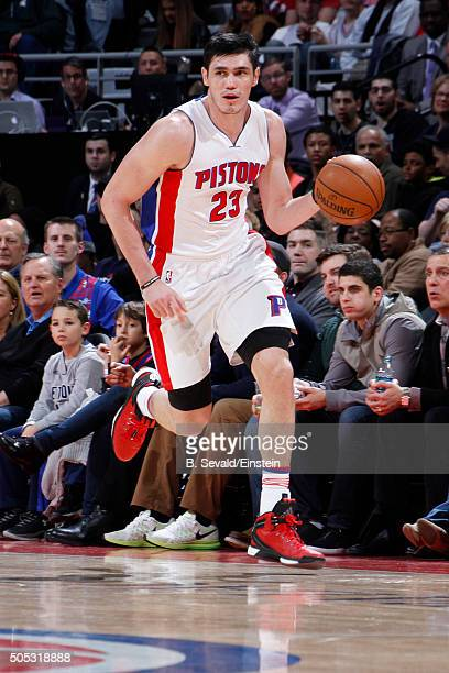 Ersan Ilyasova of the Detroit Pistons brings the ball up court against the Golden State Warriors on January 16 2016 at The Palace of Auburn Hills in...
