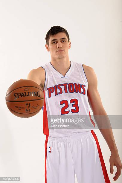 Ersan Ilyasova of the Detroit Pistons poses during media day on September 28 2015 at The Palace of Auburn Hills in Auburn Hills Michigan NOTE TO USER...