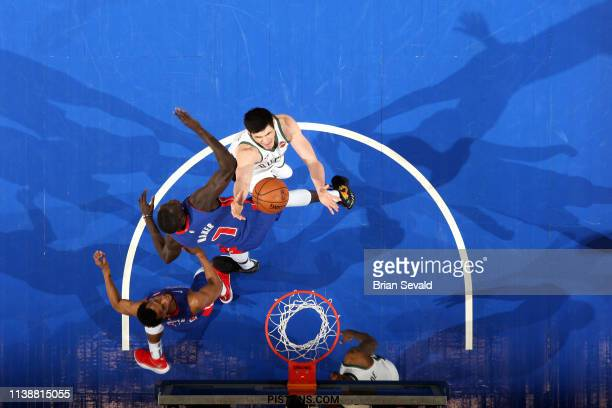 Ersan Ilyasova of the Milwaukee Bucks goes to the basket against the Detroit Pistons during Game Four of Round One of the 2019 NBA Playoffs on April...