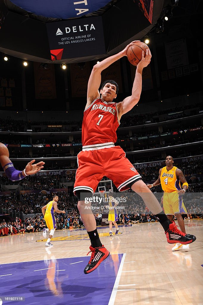 Ersan Ilyasova #7 of the Milwaukee Bucks grabs a rebound against the Los Angeles Lakers at Staples Center on January 15, 2013 in Los Angeles, California.