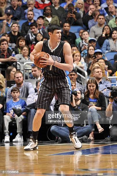 Ersan Ilyasova of the Orlando Magic handles the ball against the Golden State Warriors on February 25 2016 at Amway Center in Orlando Florida NOTE TO...