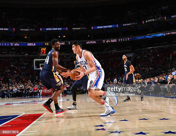 Ersan Ilyasova of the Philadelphia 76ers drives to the basket against the New Orleans Pelicans at Wells Fargo Center on December 20 2016 in...